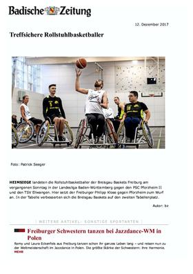 Sanitätshaus Pfänder Presseclipping Badische Zeitung Rollstuhlbasketball
