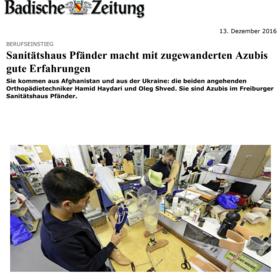Sanitätshaus Pfänder Presseclipping Ausbildung von Flüchtlingen