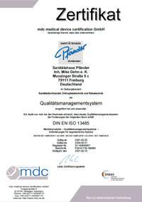 Sanitätshaus Pfänder Freiburg Qualitätsmanagement ISO 13485 Zertifikat