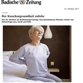 Sanitätshaus Pfänder Presseclipping Osteoporose