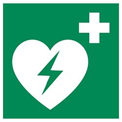 Zu Ihrer Sicherheit - Defibrilator im Haus verfügbar